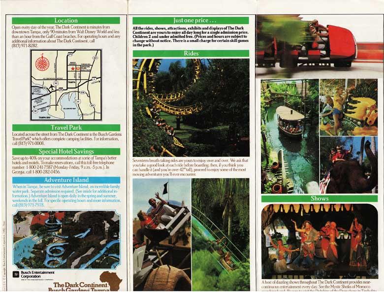 Busch Gardens Tampa Park Brochure Courtesy Of