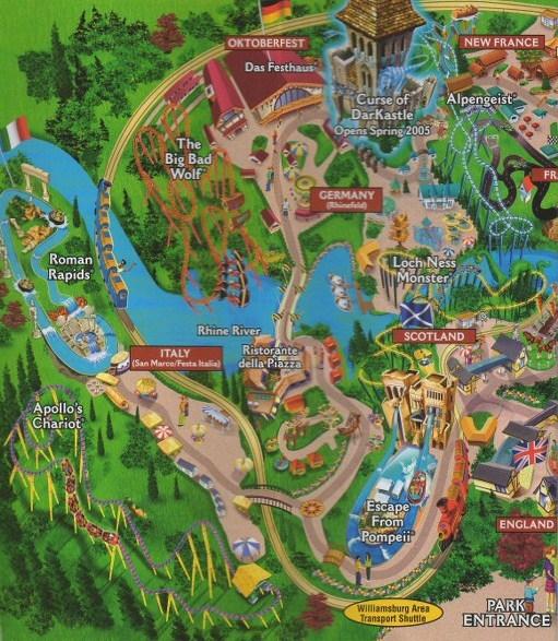 Busch Gardens Williamsburg 2005 Park Map