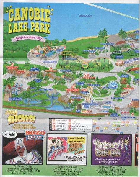 Canobie Lake Park - 2005 Park Map on