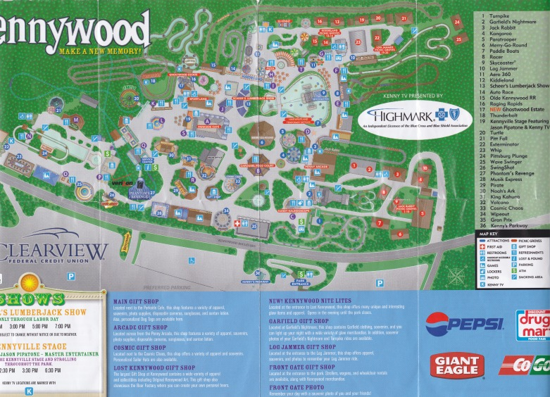 Kennywood Park - 2008 Park Map on lehigh valley international airport map, kings dominion map, seaworld map, consol energy center map, delgrosso's amusement park map, wyandot lake map, six flags map, michigan's adventure map, oakmont country club map, lesourdsville lake amusement park map, pnc park map, holiday world map, dollywood map, funtown splashtown usa map, walibi holland map, kings island map, disneyland map, white swan park map, mt. olympus water & theme park map, cedar point map,