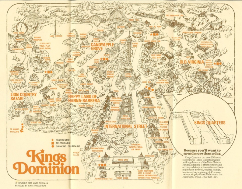 Kings Dominion  1977 Park Map