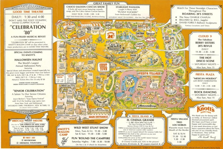Knott's Berry Farm - 1979 Park Map on disneyland map, oceans of fun map, legoland map, universal studios hollywood map, pink's hot dogs map, mt. olympus water & theme park map, kings dominion map, adventure city map, cedar point map, carowinds map, kings island map, ghost town in the sky map, california adventure map, magic kingdom map, kentucky kingdom map, islands of adventure map, wonderland park map, magic mountain map, canada's wonderland map, six flags map,