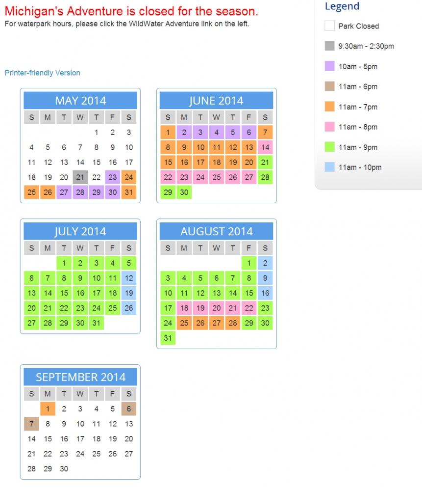 Last Year Calendar : Theme park review michigan s adventure mia discussion