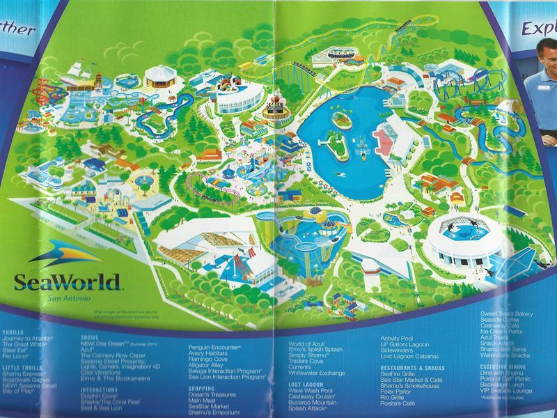 map of seaworld san antonio Seaworld Of Texas 2011 Park Map map of seaworld san antonio