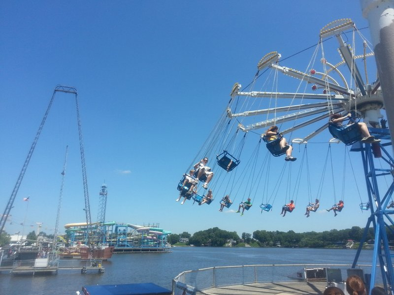 Indiana beach visit first time theme park review for Swing over water