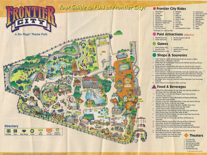 Frontier City Map Frontier City   2006 Park Map