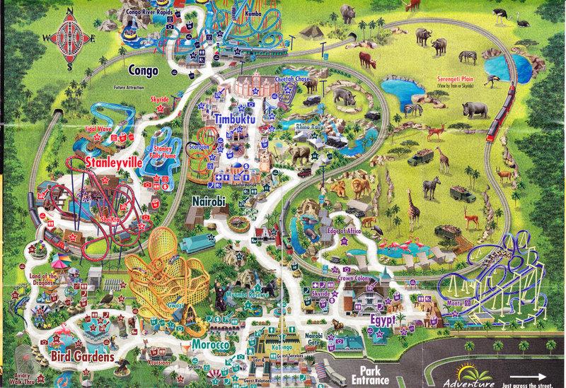 Busch Gardens Tampa 2007 Park Map