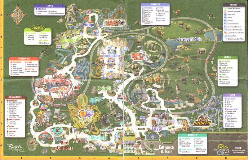 Busch Gardens Tampa 2008 Park Map