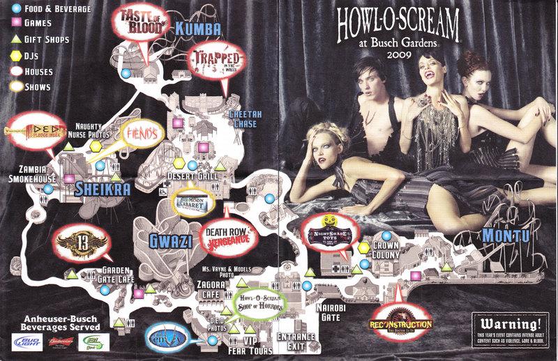 Busch Gardens Tampa 2009 Park Map Howl O Scream
