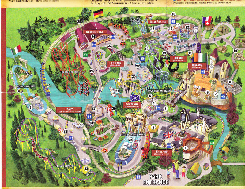 busch gardens williamsburg 2004 park map