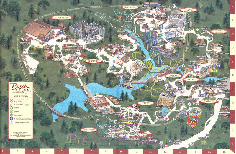 busch gardens williamsburg va map
