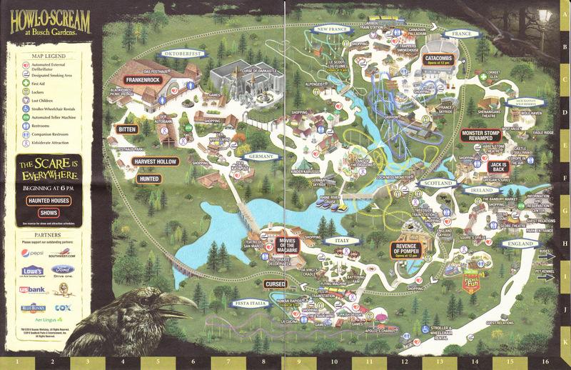 Busch Gardens Williamsburg 2010 Park Map Howl O Scream