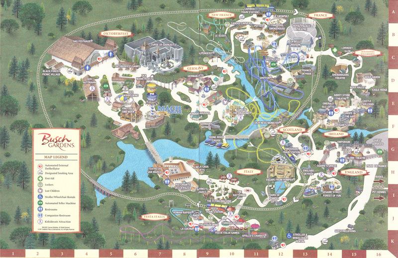 Busch Gardens Williamsburg 2011 Park Map