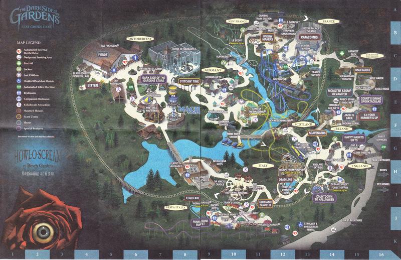 Busch Gardens Williamsburg 2011 Park Map Howl O Scream