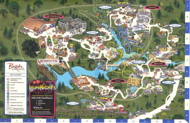 Busch Gardens Williamsburg 2012 Park Map