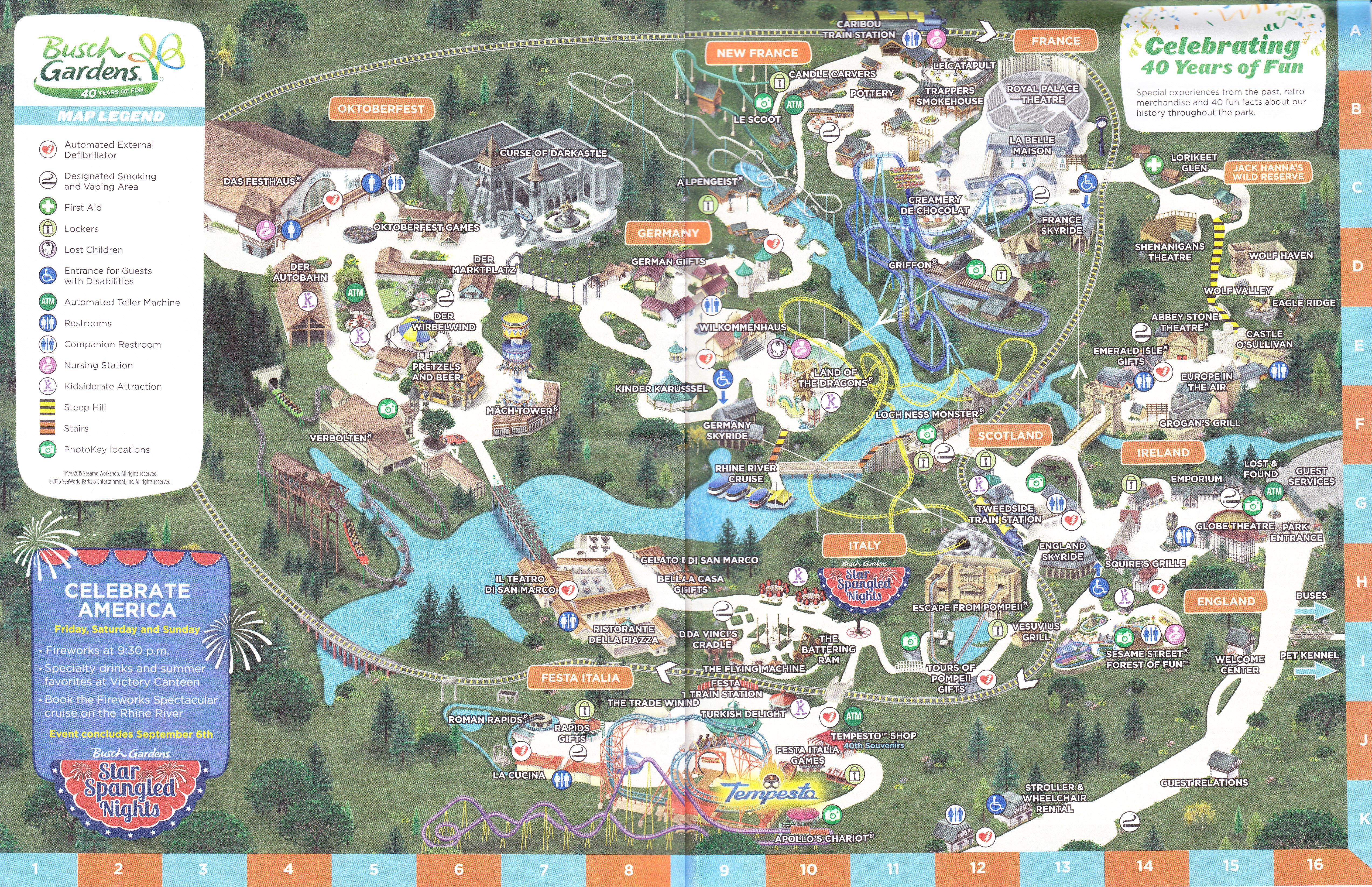 Busch Gardens Williamsburg Park Map - Bush gardens park map