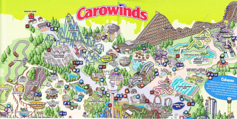 Map Of Carowinds Carowinds   2009 Park Map Map Of Carowinds