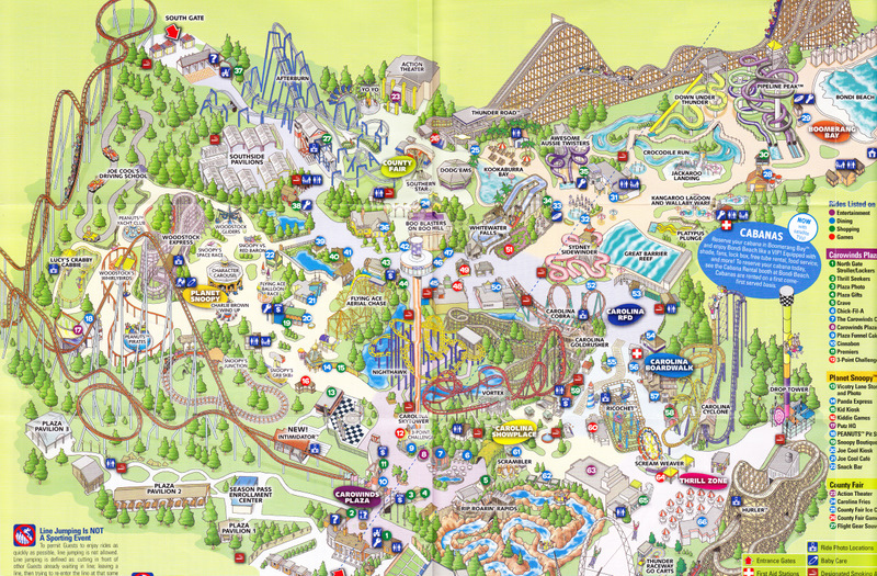 Carowinds - 2010 Park Map on
