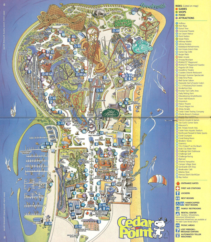 Cedar Point - 2004 Park Map on map of east des moines, map of ironwood, map of mingo county, map of lantzville, map of brethren, map of haysville, map of whiting, map of dwight, map of grand traverse, map of newville, map of boyne falls, map of audubon, map of mahaska county, map of leelanau, map of callaway, map of chariton, map of nanoose, map of tanoak, map of citrus, map of saint johns,