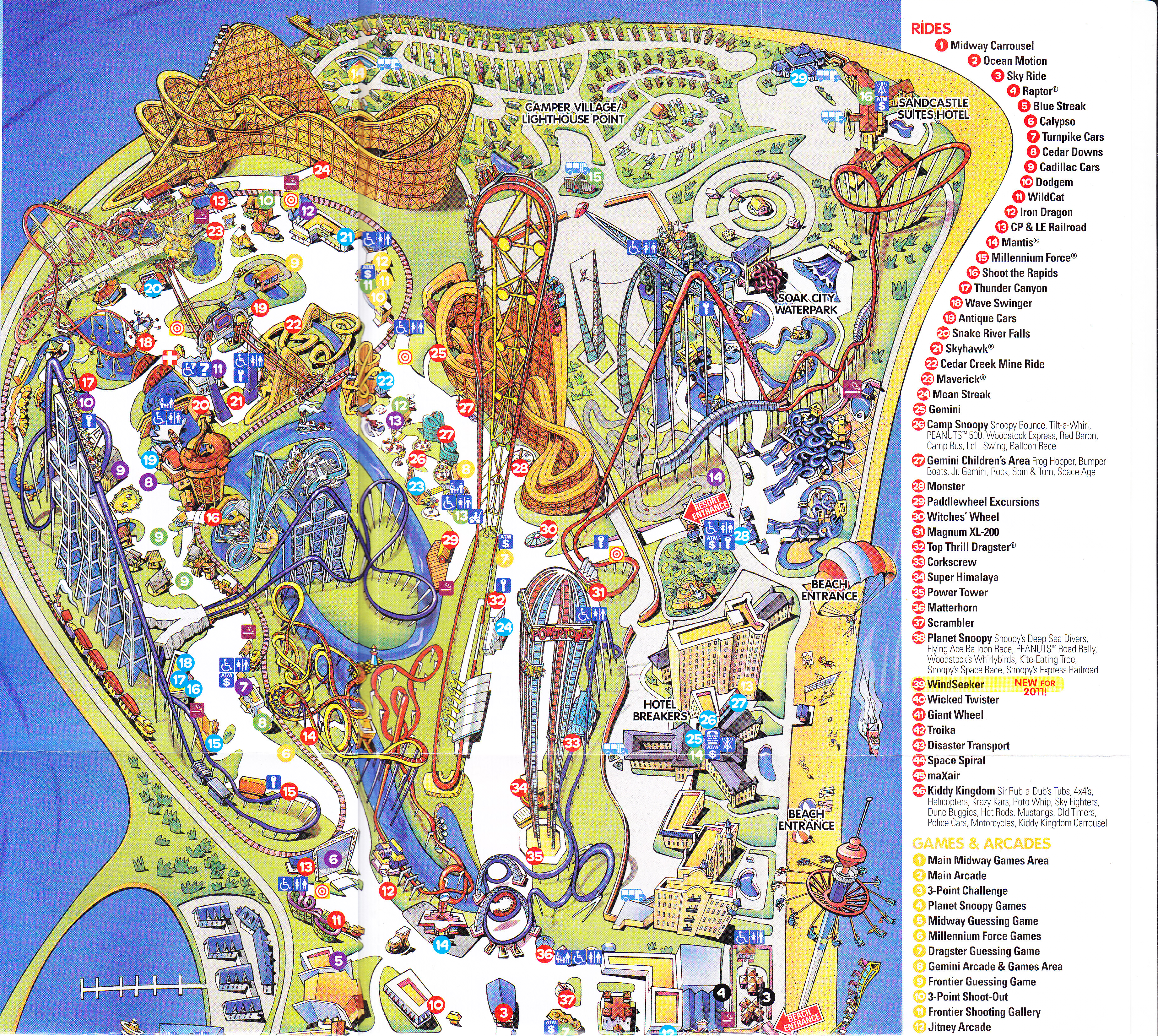 Cedar Point Park Map Cedar Point   2011 Park Map