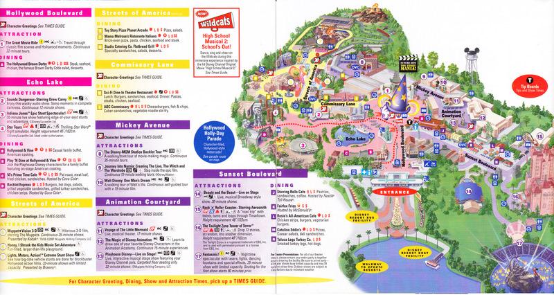 Disney\'s Hollywood Studios at Walt Disney World - 2007 Park Map
