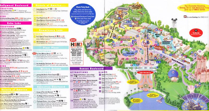 Disney\'s Hollywood Studios at Walt Disney World - 2009 Park Map