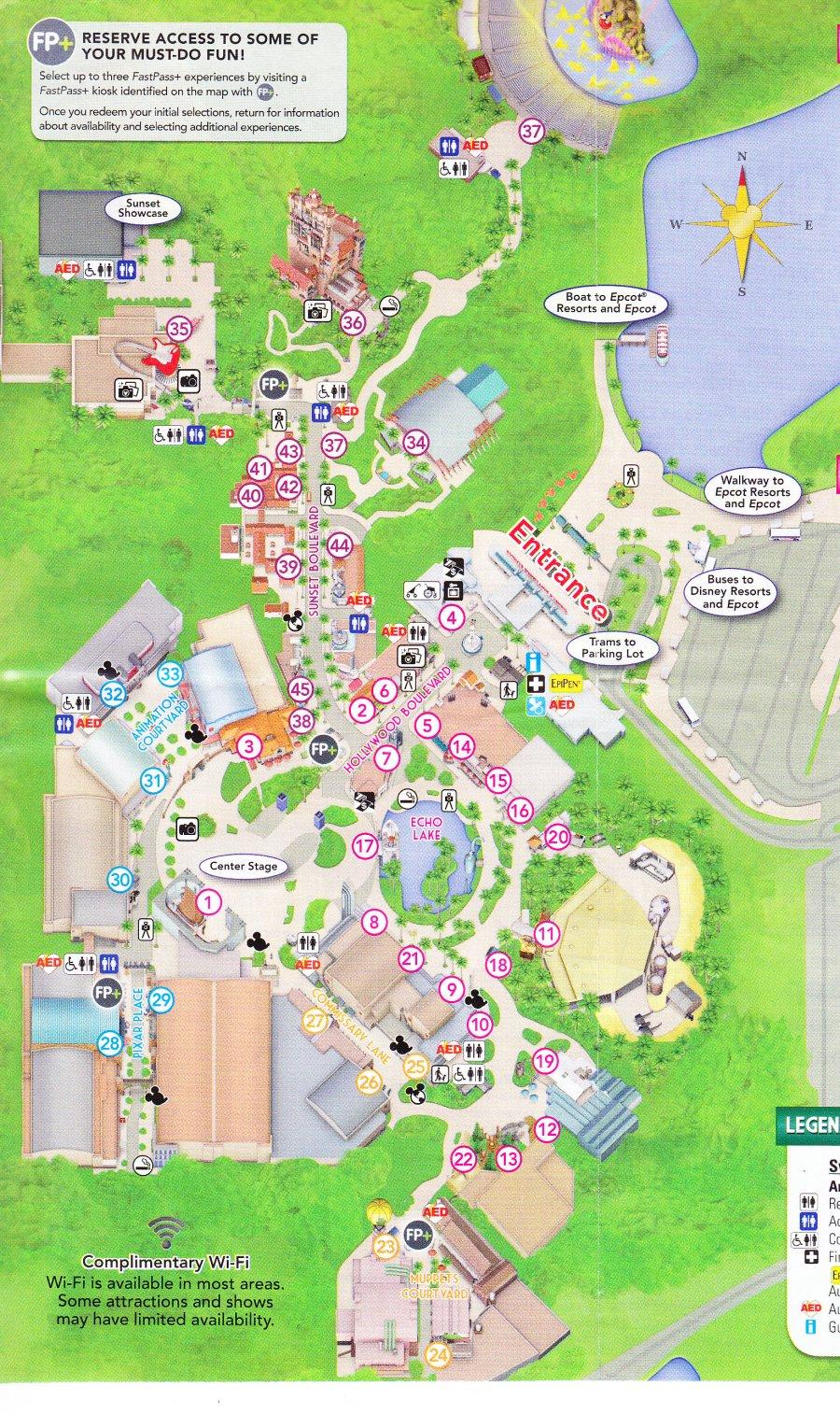 Disney 39 s Hollywood Studios at Walt Disney World 2016 Park Map