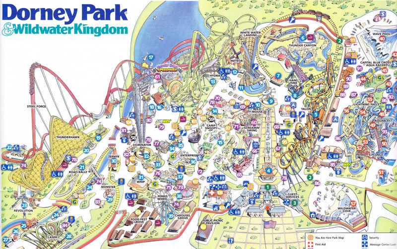Dorney Park & Wildwater Kingdom - 2007 Park Map on valley fair map, knott's berry farm park map, garden of the gods park map, kings dominion map, cedar point map, dixie landin map, hershey park zoo map, burke lake park map, flintstones bedrock city map, dutch wonderland map, long island new york city map, michigan's adventure map, hersheypark map, great adventure map, ghost town in the sky map, disneyland map, woodland park zoo map, knoebels map, six flags map, darien lake park map,