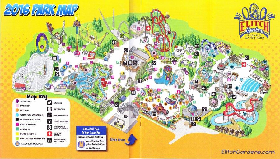 Elitch Gardens 2016 Park Map
