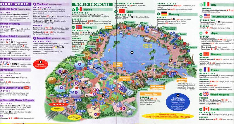 Epcot At Walt Disney World 2007 Park Map