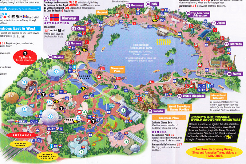 Epcot at Walt Disney World - 2011 Park Map on