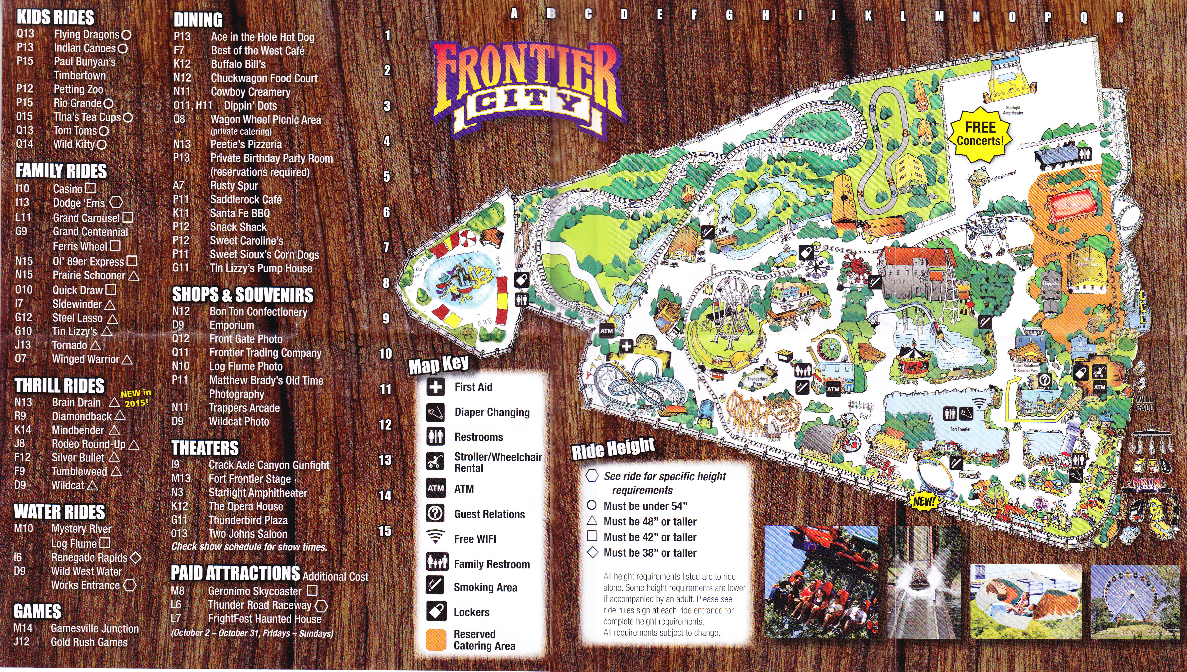 Frontier City Map Frontier City   2015 Park Map