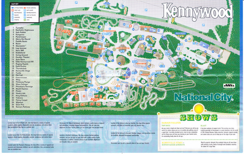 Kennywood Park - 2005 Park Map on lehigh valley international airport map, kings dominion map, seaworld map, consol energy center map, delgrosso's amusement park map, wyandot lake map, six flags map, michigan's adventure map, oakmont country club map, lesourdsville lake amusement park map, pnc park map, holiday world map, dollywood map, funtown splashtown usa map, walibi holland map, kings island map, disneyland map, white swan park map, mt. olympus water & theme park map, cedar point map,