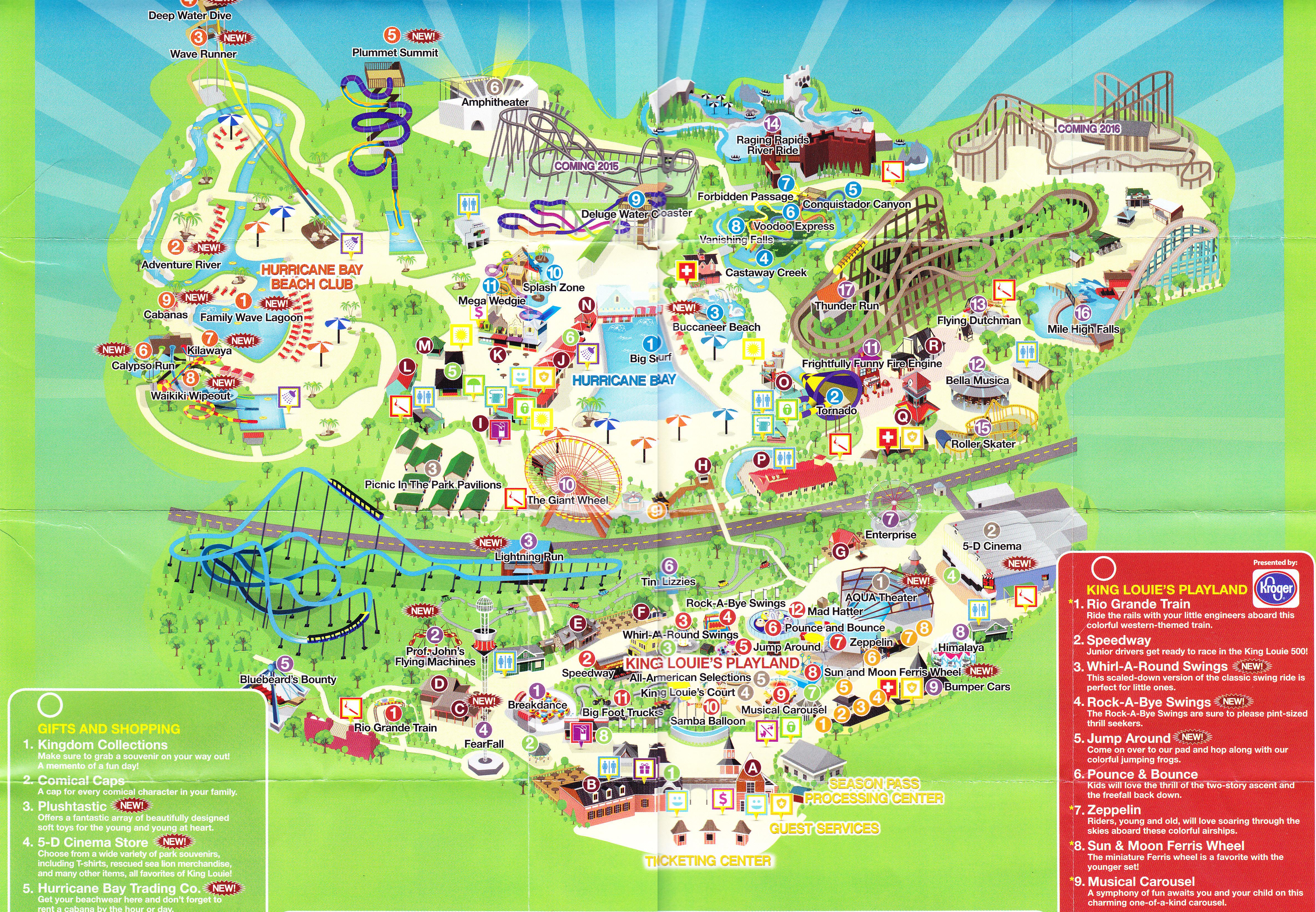 Kentucky Kingdom - 2014 Park Map