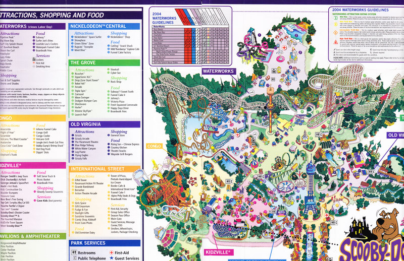 Kings Dominion - 2004 Park Map on mt. olympus water & theme park map, universal studios map, carowinds map, kingda ka map, silver dollar city map, six flags map, virginia map, geauga lake map, canada's wonderland map, richmond map, world map, amusement park map, valley fair map, cedar point map, knott's berry farm map, nickelodeon universe map, printable kings island 2014 map, dorney park map, nagashima spa land map, canobie lake park map,