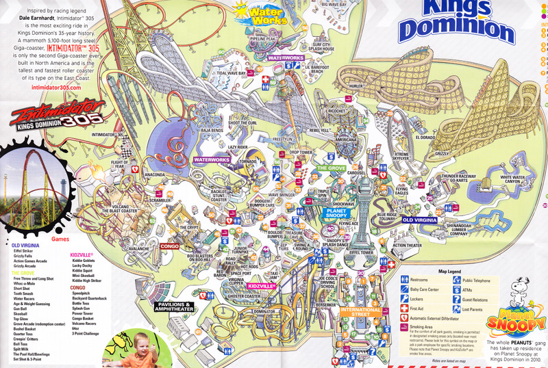 Kings Dominion  2010 Park Map