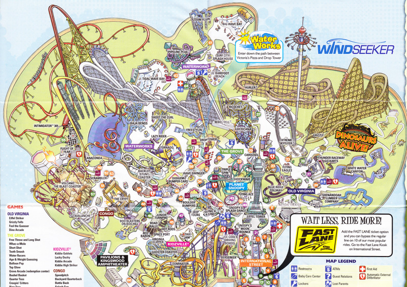 Kings Dominion - 2012 Park Map on mt. olympus water & theme park map, universal studios map, carowinds map, kingda ka map, silver dollar city map, six flags map, virginia map, geauga lake map, canada's wonderland map, richmond map, world map, amusement park map, valley fair map, cedar point map, knott's berry farm map, nickelodeon universe map, printable kings island 2014 map, dorney park map, nagashima spa land map, canobie lake park map,