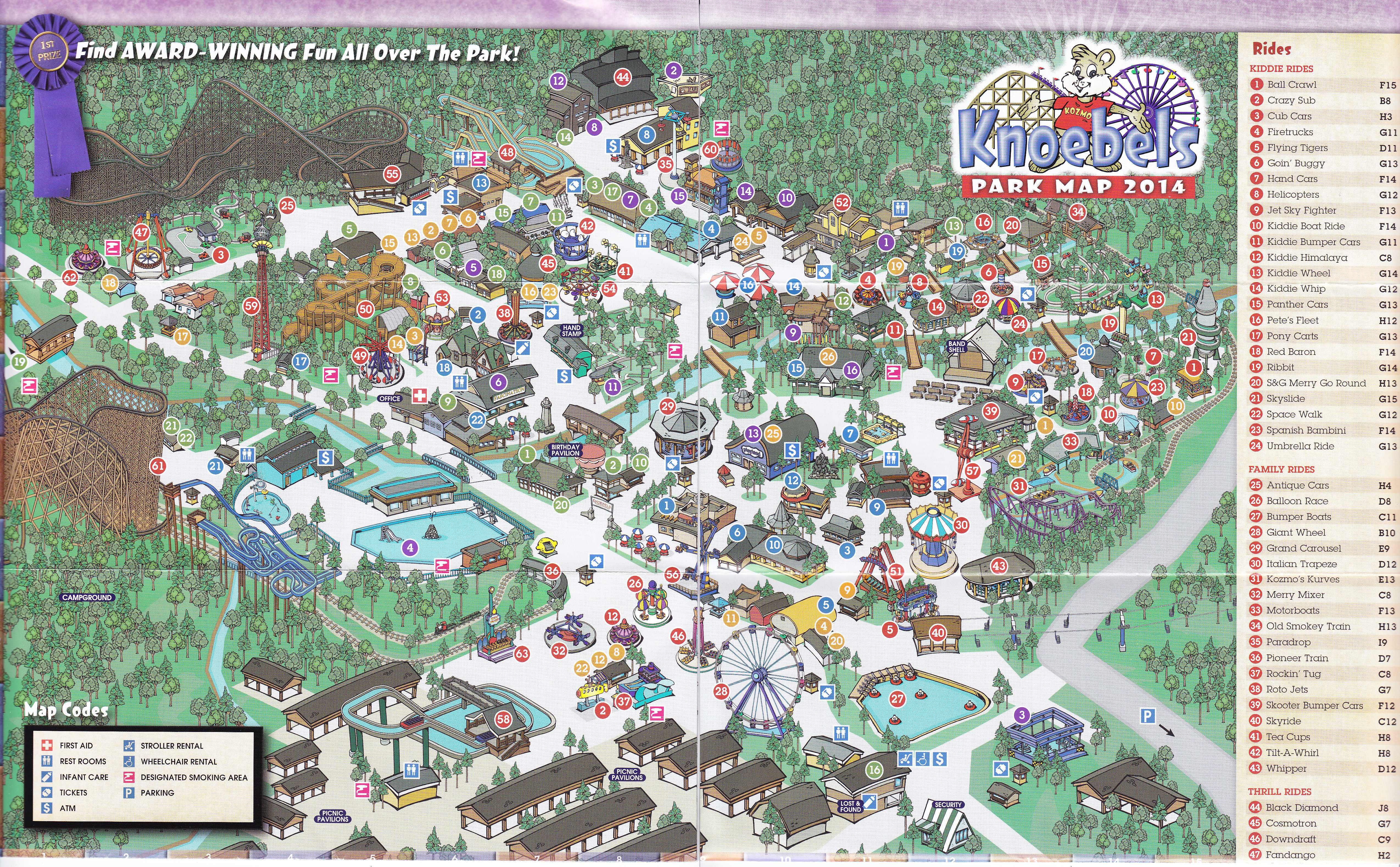 Knoebels Amut Park & Resort - 2014 Park Map on santa's village camping map, idlewild map, from valley forge road duncansville on map, silverwood theme park camping map, darien lake camping map, amusement map,
