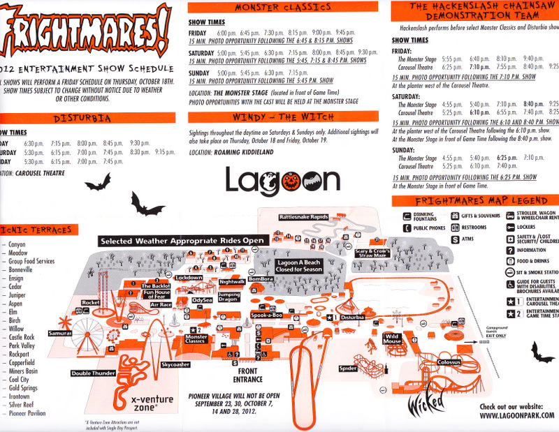 Lagoon  2012 Park Map Frightmares