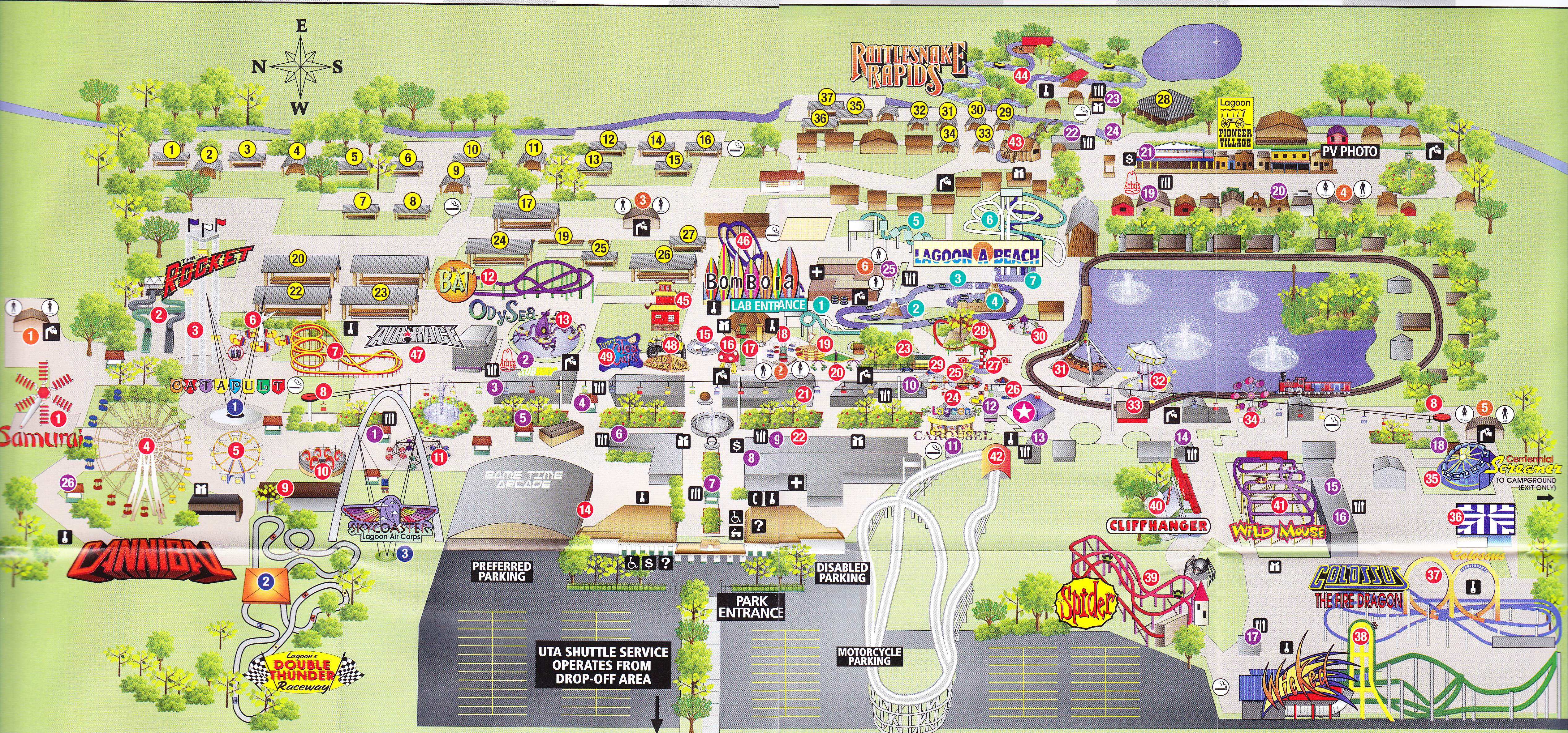Lagoon Park Map Lagoon   2016 Park Map