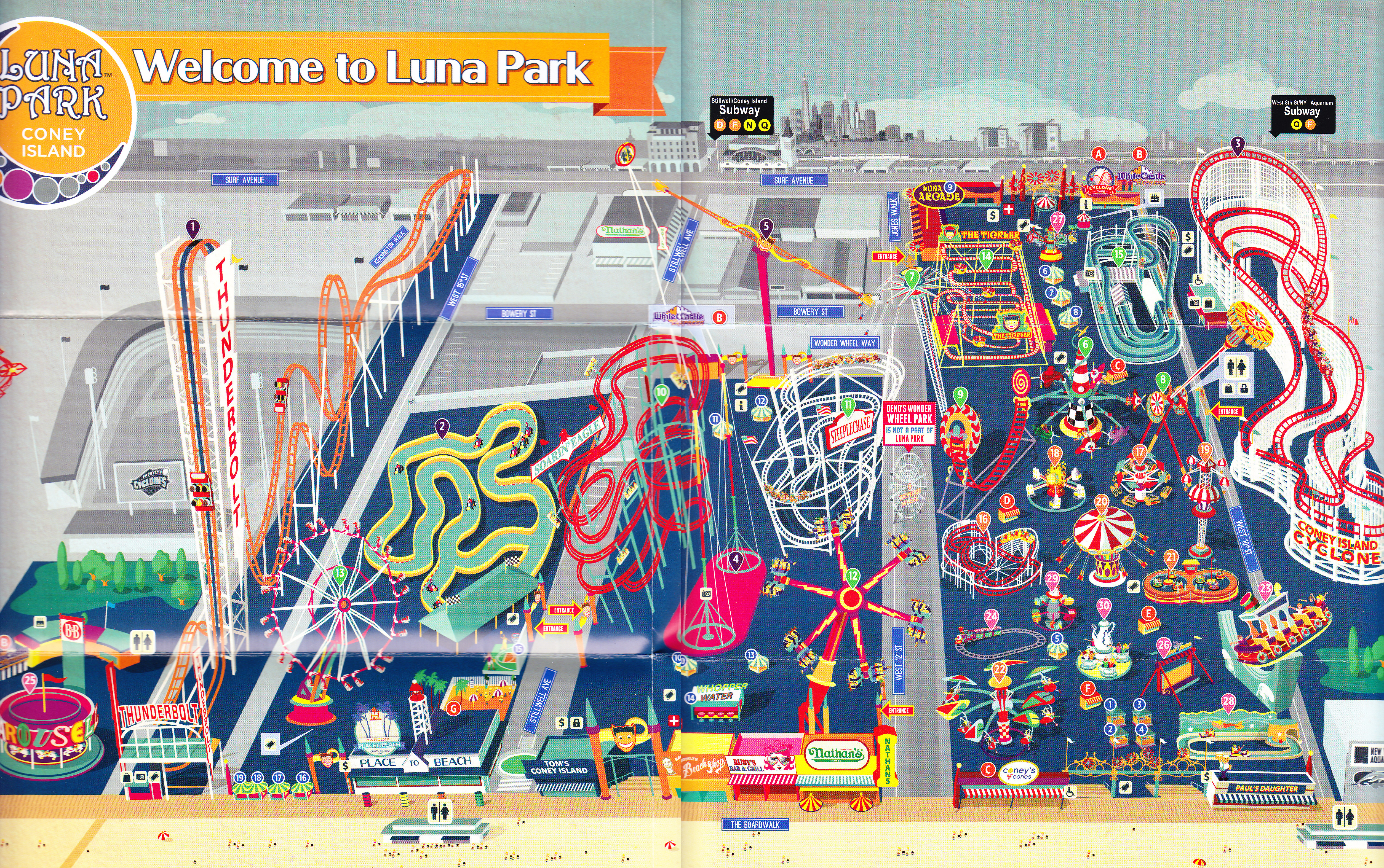 Luna Park Map Luna Park (Coney Island)   2015 Park Map Luna Park Map