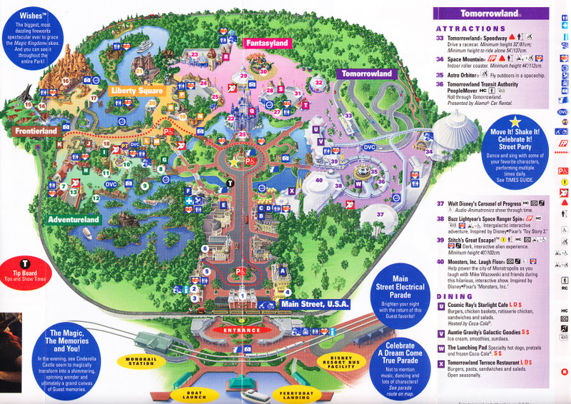 Magic Kingdom at Walt Disney World - 2011 Park Map
