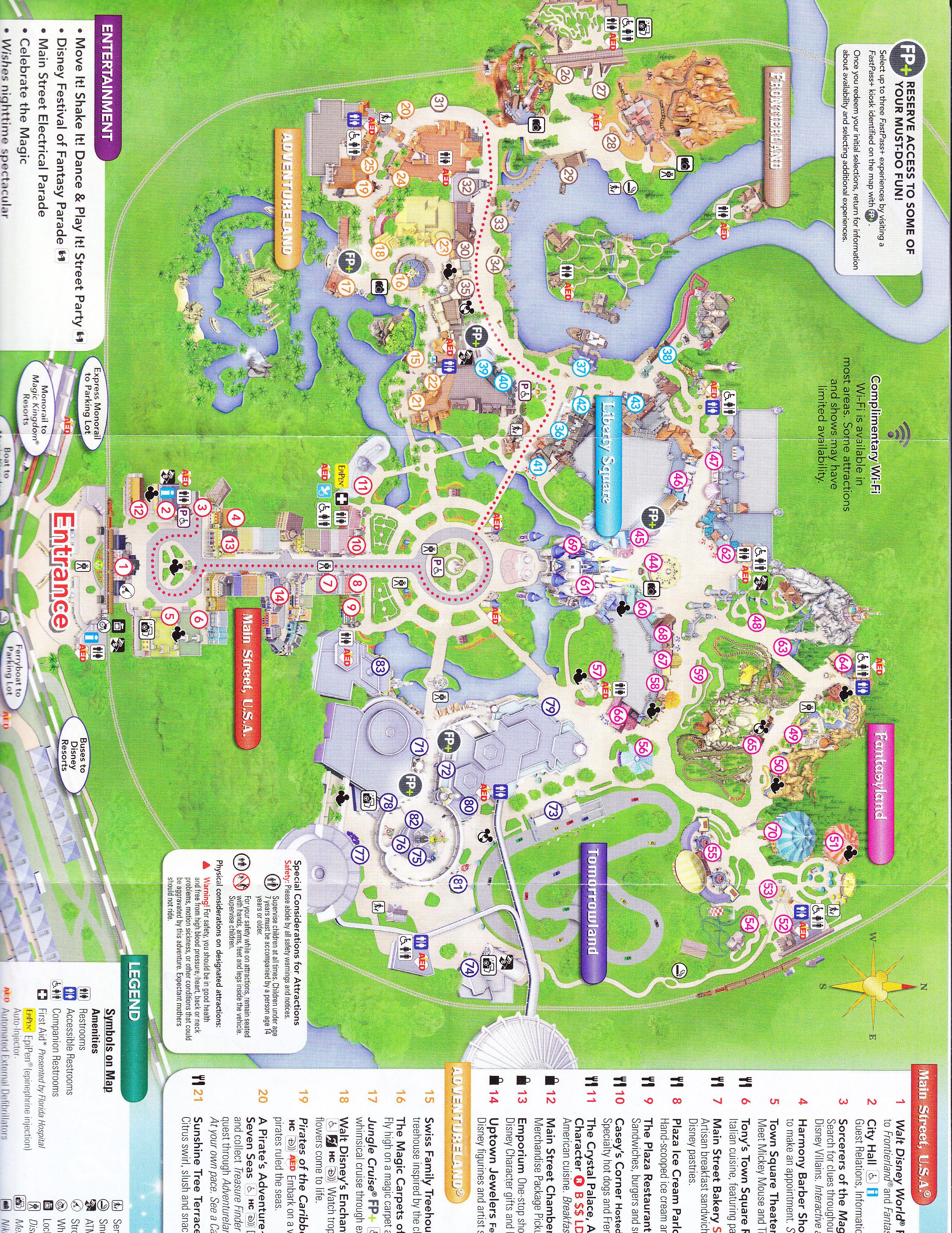 Adventureland Disney World Map.Magic Kingdom At Walt Disney World 2016 Park Map