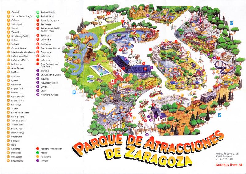Parque de atracciones de zaragoza 2007 park map - Parque atracciones zaragoza ...