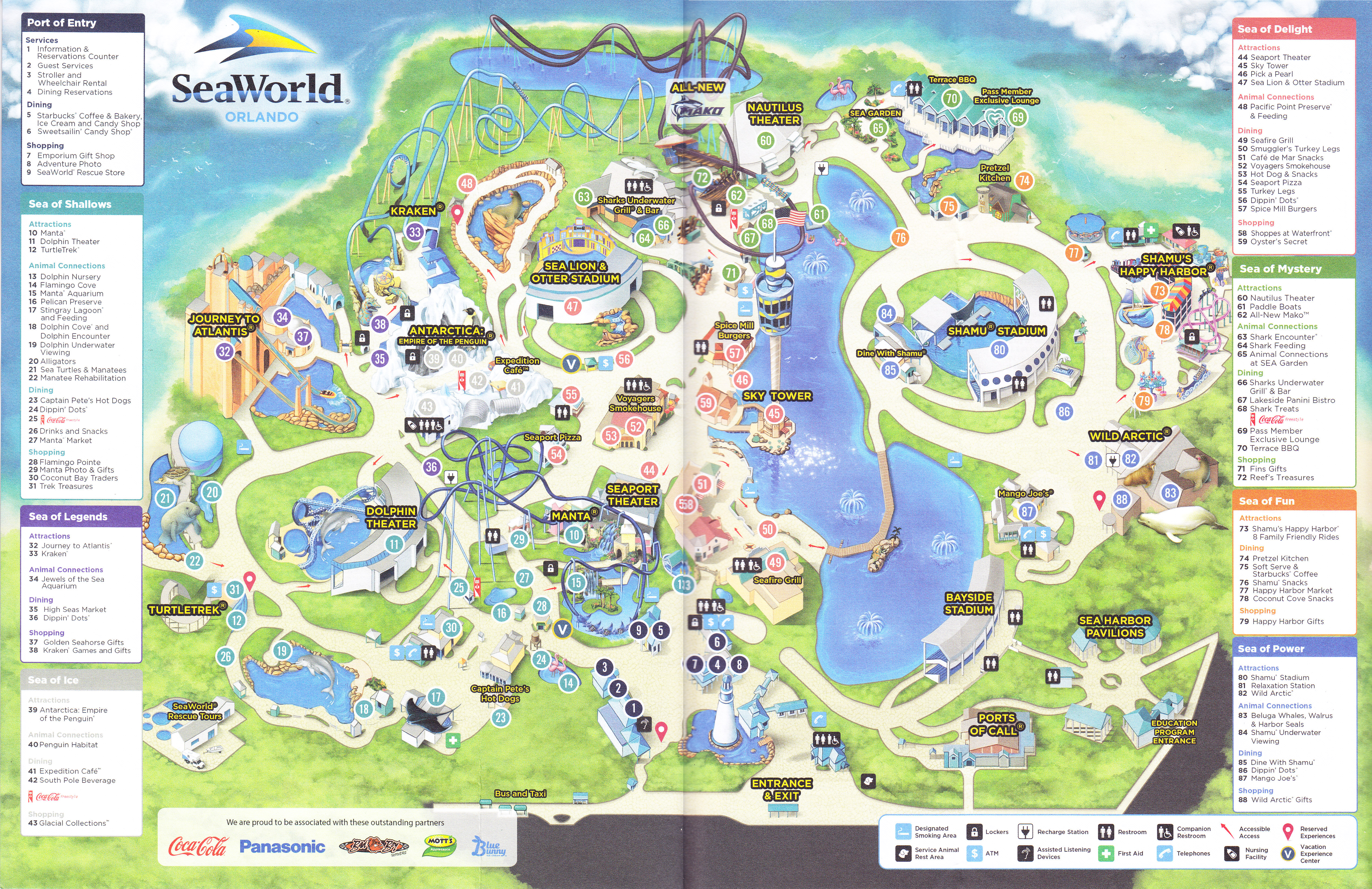 sea world map 2016 Seaworld Of Orlando 2016 Park Map