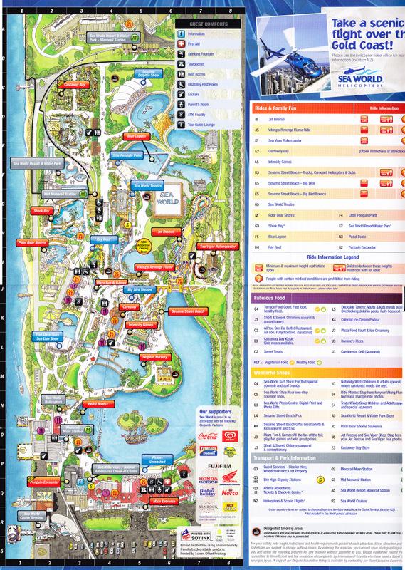 Sea World Australia 2011 Park Map