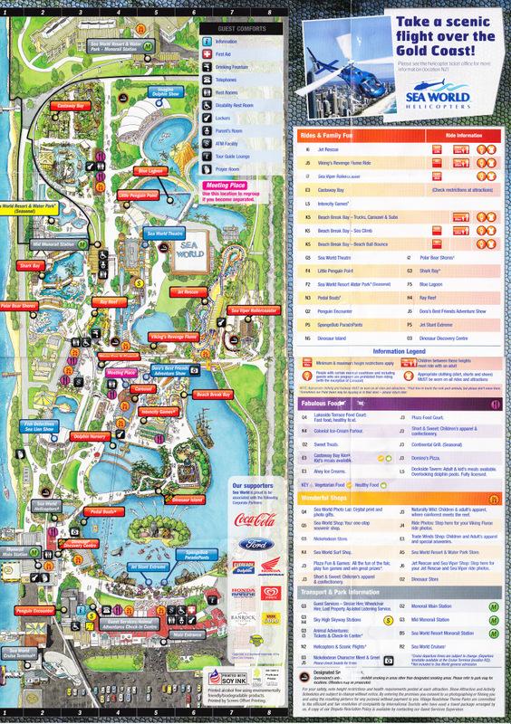 Sea World Australia 2012 Park Map