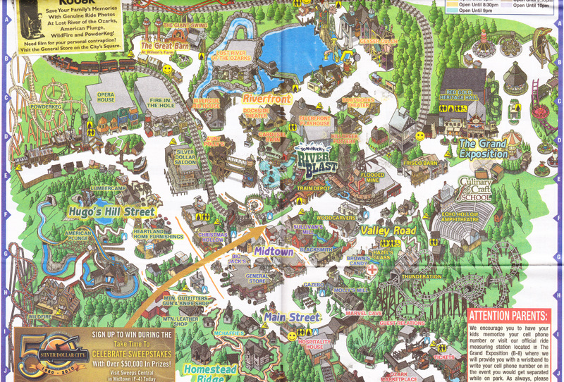 Silver Dollar City   2010 Park Map