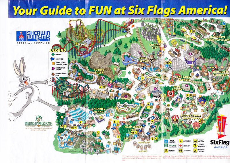Six Flags America Map Six Flags America   2004 Park Map