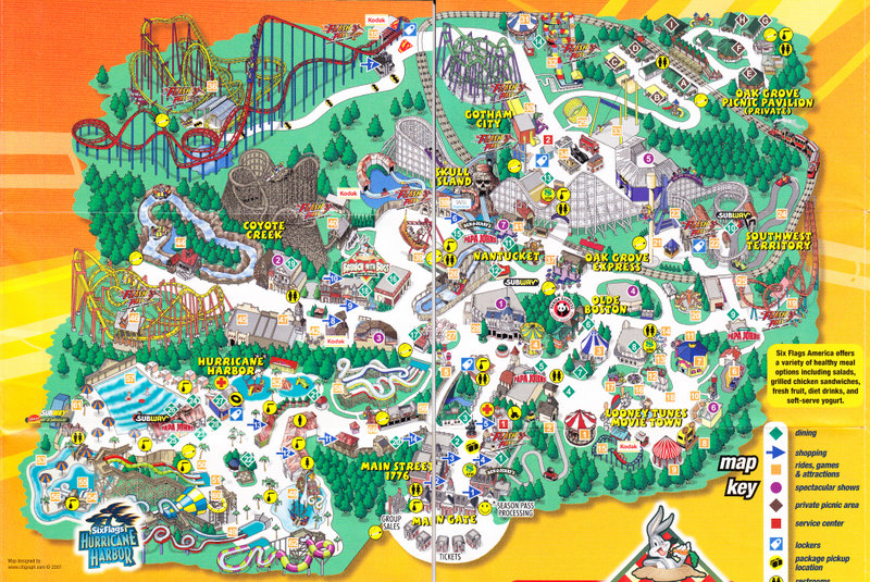 Six Flags America Map Six Flags America   2007 Park Map
